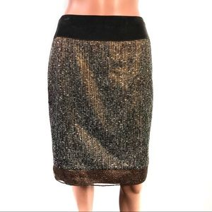 Magaschoni Brown Sequin Skirt Size 10 Brand New